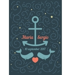Invitation to the wedding in a marine theme vector image