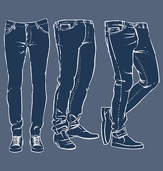 Hand drawn fashion design mens jeans set vector
