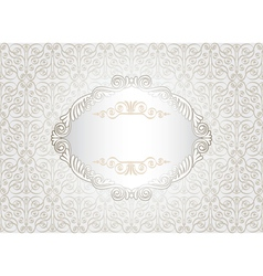 Vintage white frame on damask background vector