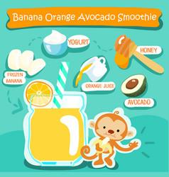 Banana orange avocado delicious healthy smoothies vector