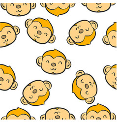 doodle of animal monkey collection vector image