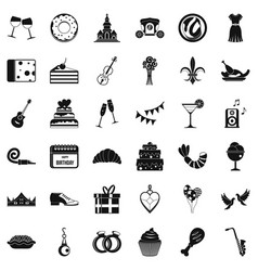 Banquet icons set simple style vector