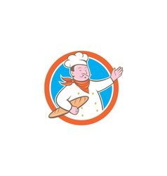 Chef cook holding baguette circle cartoon vector
