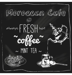 Teapot and cup moroccan cafe blackboard vector