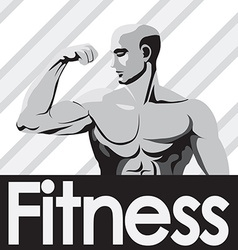 Fitness gym logo mockup grey bodybuilder showing vector