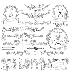 Doodles floral decor setwreathborderselements vector