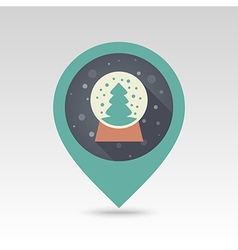 Christmas snow globe with tree inside pin map icon vector