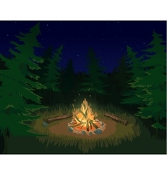 Landscape with bonfire vector