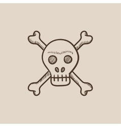 Skull and cross bones sketch icon vector