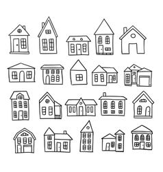 Hand drawn house set vector