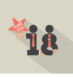 18th years anniversary typography design vector