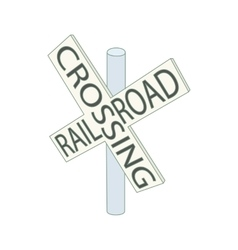 Railroad crossing sign icon cartoon style vector