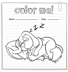 A worksheet with a dog sleeping vector