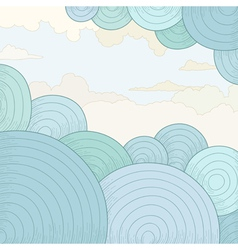 Abstract background with circles and clouds vector image vector image