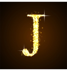 Alphabets j of gold glittering stars vector