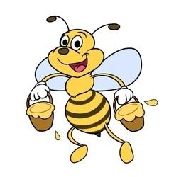 Bee is carrying honey 2 vector image vector image