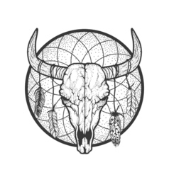 Bull skull with feathers native americans tribal vector