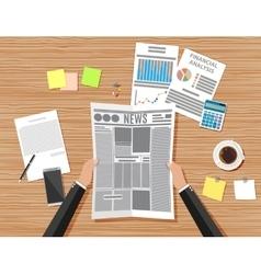 Businessman workplace wooden desk vector image