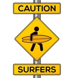 Caution surfers yellow road sign vector image vector image