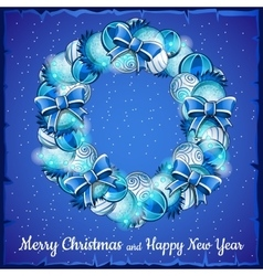 Christmas wreath of balls a holiday card in blue vector image vector image