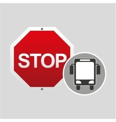 city bus stop road sign design vector image vector image