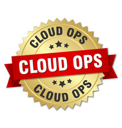 cloud ops round isolated gold badge vector image vector image