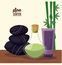 color poster of spa center with bamboo plant and vector image vector image