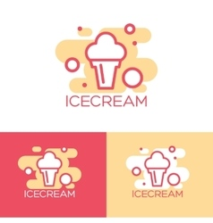 Colorful ice cream logo design concept vector image vector image