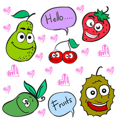 doodle of cute fruit character vector image