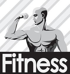 Fitness gym logo mockup grey bodybuilder showing vector