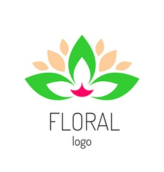 Floral logo template Green leaves and cat face vector image vector image