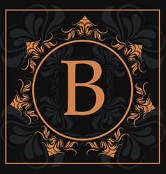 Florishes gold letter b calligraphic heraldic dark vector