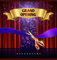 Grand opening concept with red curtains vector