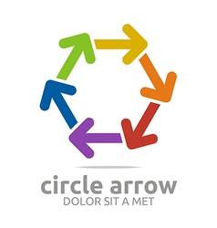 hexagon arrow colorful design symbol icon vector image