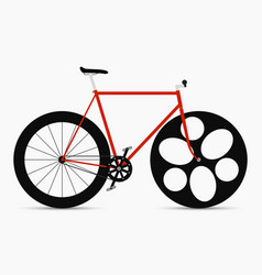Hipster single speed bike in black and red colors vector