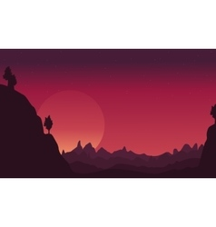 Landscape of cliff silhouettes collection vector image vector image