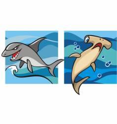 Marine life sharks vector