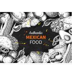 mexican food sketch label in frame vector image