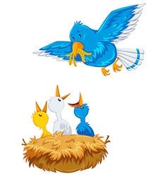 Mother bird feeding the offsprings vector