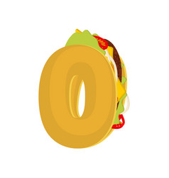 Number 0 tacos mexican fast food font zero taco vector
