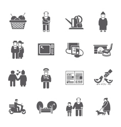 Pensioners life icons set vector