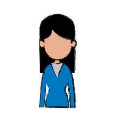 portrait woman female avatar figure vector image