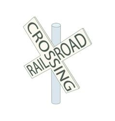 Railroad crossing sign icon cartoon style vector