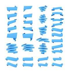 Set of blue ribbon banners for promotion vector image