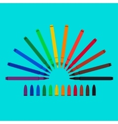 Set of felt-tip pens red green yellow purple vector