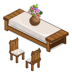 Set of table and two chairs in rustic style vector