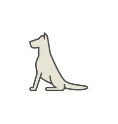 Sitting dog colorful icon vector