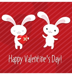 Valentines Day Card With Rabbits vector image