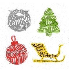 Christmas silhouettes beard vector image
