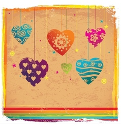 Vintage vilentines color heart background vector